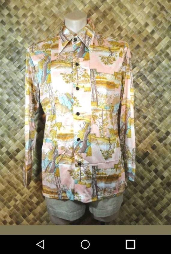 Vtg 1970's Wrangler mens Western Shirt. L - image 1