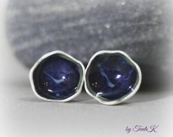"""Handmade Porcelain post earrings """"Blue Cat"""", Bell porcelain earrings, blue porcelain studs, romantic dark blue post earrings, gift idea"""