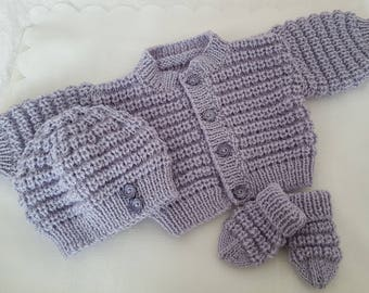 666d937fd47 Knitted Baby Clothes - Baby Gift - Hand Knitted Baby Cardigan Hat   Mittens  - Handmade Unisex Baby Sweater Set 3-6 Months - Ready To Ship