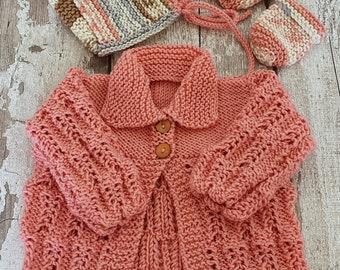 Ready to Ship 62-68 Cardigan Purple Baby Child Hand Knitted Autumn Girl Gift J\u00e4ckchen Baby Cardigan Cotton Christmas Babygirl