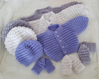 86bca42f61f Baby Knitting Patterns Boys Girls or Reborn Dolls - Sweater Set - Instant  Download PDF - Baby Cardigan Hat Mittens - Easy Knit Design