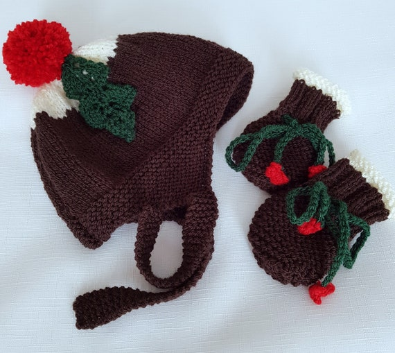 Baby Knitting Patterns Christmas Pudding Baby Hat Mittens Etsy