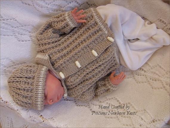 Baby Knitting Patterns Baby Boys Cardigan Hat Set Instant Etsy