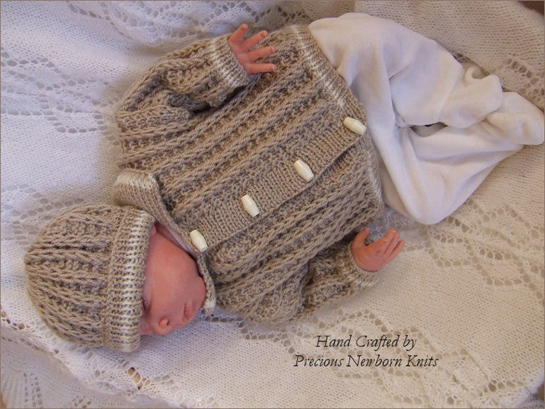 Baby Knitting Patterns Baby Boys Cardigan   Hat Set Instant  0ae529a9458