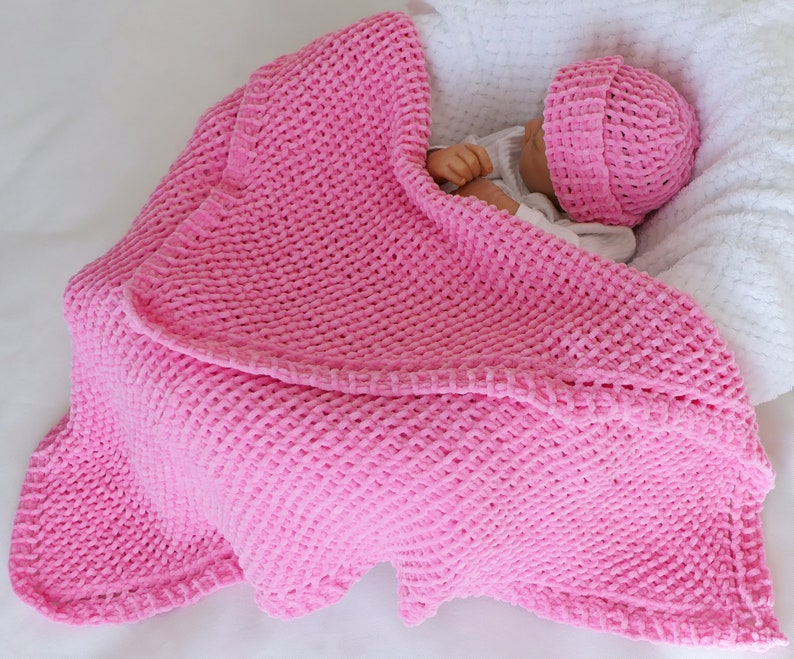 Baby Blanket Knitting Pattern Easy Knit Instant Pdf Download Etsy