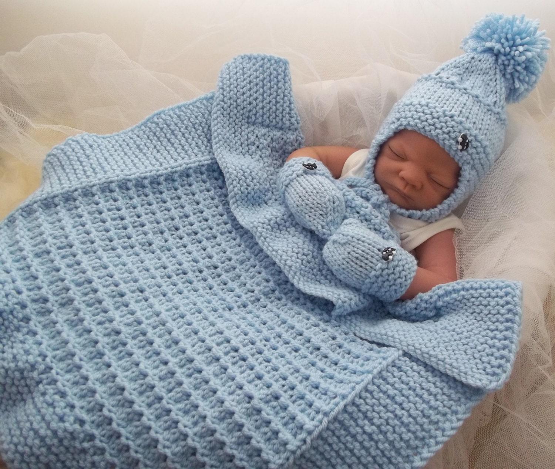 Baby Knitting Pattern Chunky Baby Pram Blanket, Hat & Mittens - Easy ...