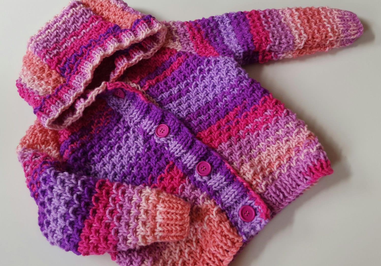 Baby Knitting Pattern Toddler Girls or Boys Hooded Cardigan ...
