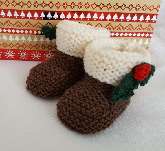 Baby Knitting Patterns Christmas Pudding Baby Booties Etsy