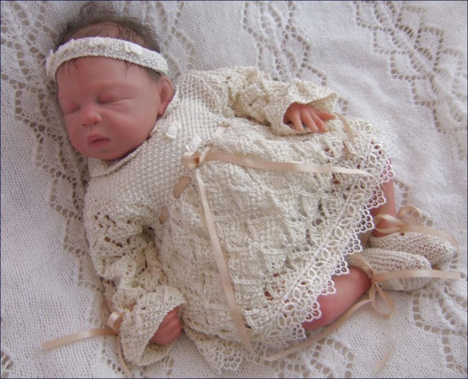 baby knitting pattern - girls download pdf knitting pattern - reborn doll knitting patterns dress, headband & ballet shoes