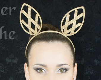 Fancy Head band in gold lame color criss cross ear crinoline grid for fantasy party unique woman size