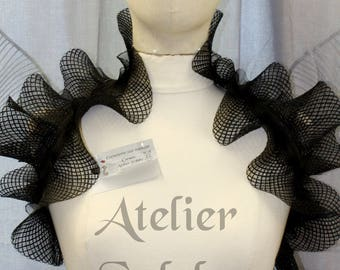 Black fantasy ruffle neck collar with delicate soft horsehair style back velcro closure on elastic neck band