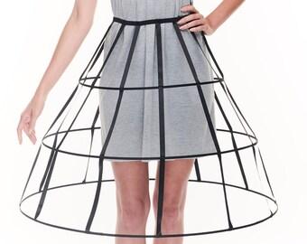 Black color triangular Crinoline hoop cage skirt pannier 3 rows elastic waist simple cage