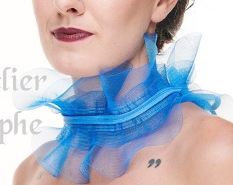 Blue fantasy ruffle neck collar with delicate soft horsehair style back lacing closure on ribbon neck band