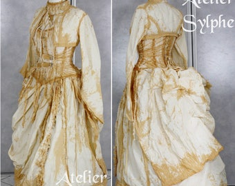 26 inches closed corset waist size Handmade gnow fashion corset with full victorian 6 pieces outfit