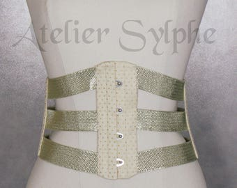 25 inches waist cincher underbust corset in gold lame and stretch elastic ribbons Totaly closed waist size is 63 cm