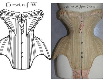 REF W PDF digital antique Edwardian corset pattern 19.40 inches waist size antique and pictures