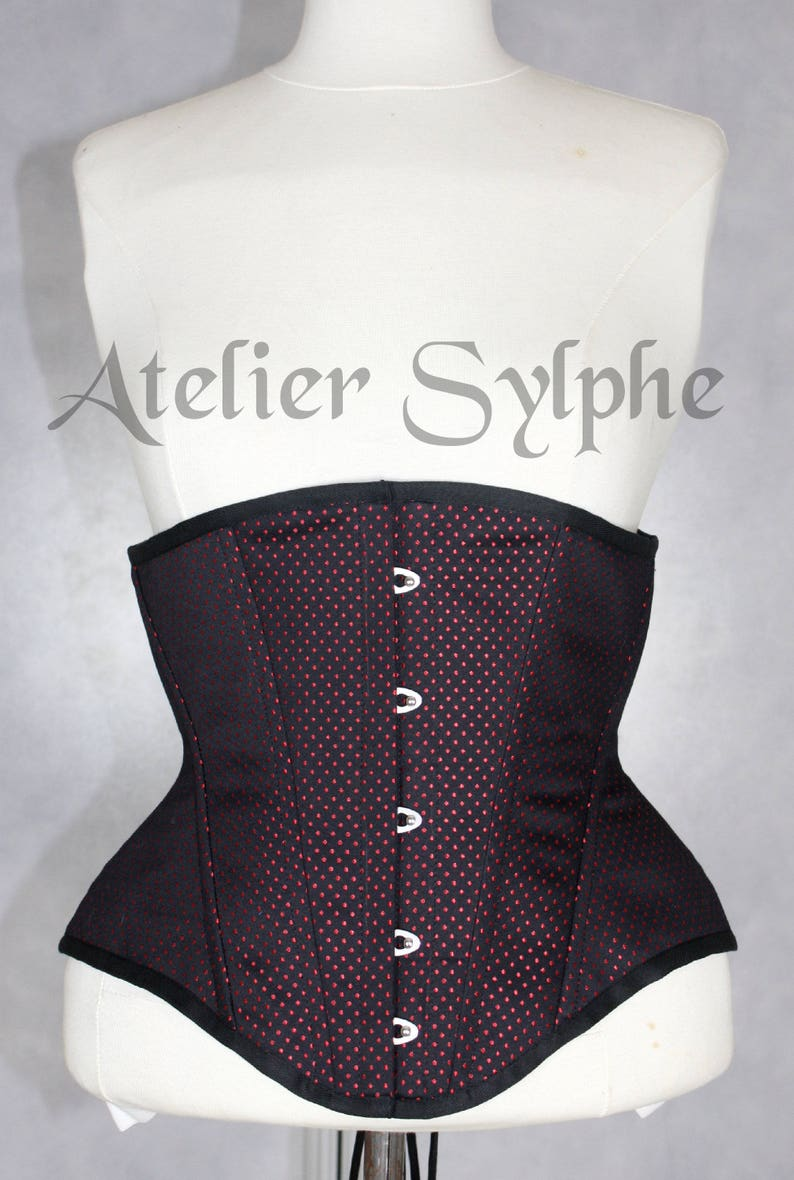 1e8332ac84f 25 inches waist size underbust boned coutil corset red dots