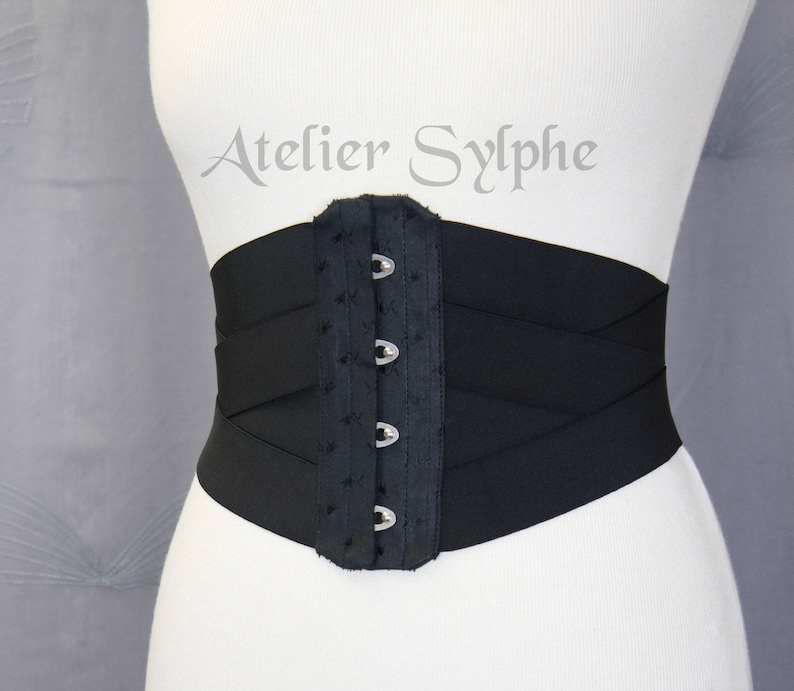 b8261aff51 30 inches Waist cincher underbust corset in black coutil and