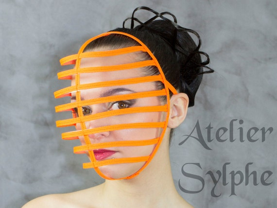 Orange fluo Halloween color Crinoline kendo style mask with ribbon end head  cage grid for party cosplay costume
