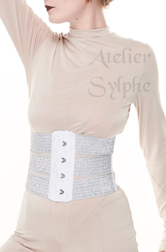 f198b720d2 25 inches waist cincher underbust corset in silver lame and