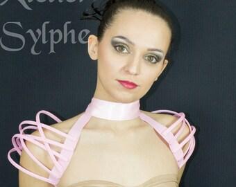 Pink neck collar and fantasy shoulders boned crinoline necktie cage
