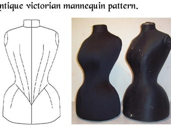 REF VIC PDF digital  hand drafted pattern from antique Victorian mannequin for display dummy 22.50 inches waist size