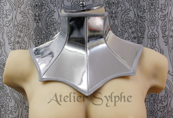 81821adad4 Silver mirror color leather neck corset collar with back