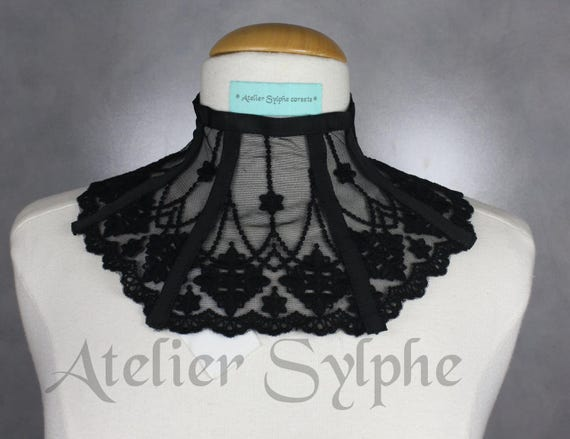 34a7316f50 Black lace neck corset collar with delicate style ribbon back