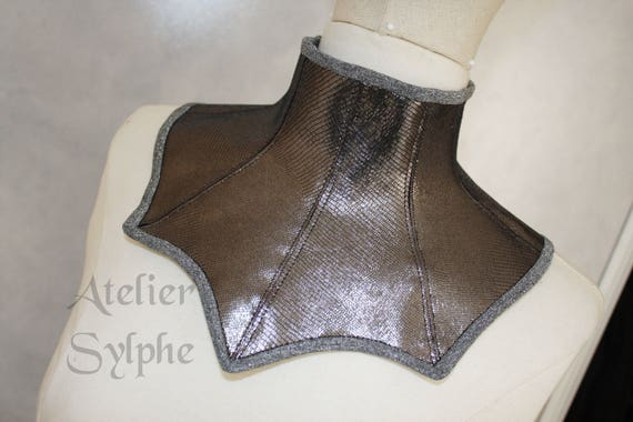 5eb77abcba Dark silver shiny color leather neck corset collar with back