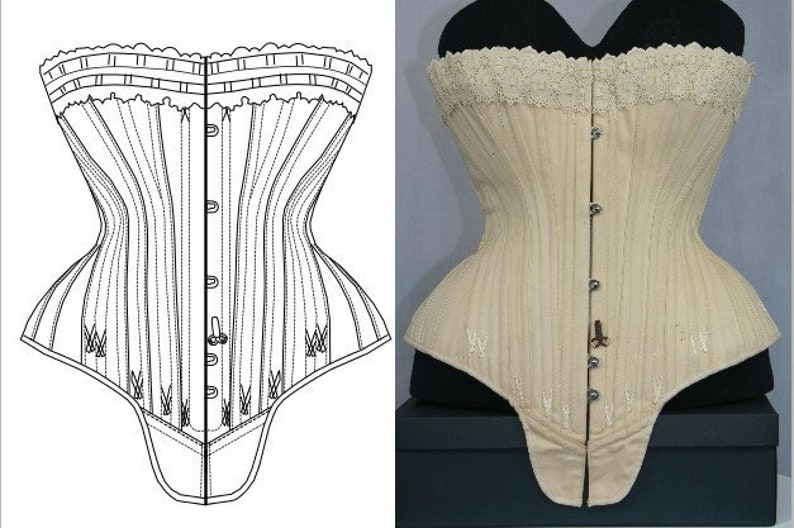 Victorian Corsets – Old Fashioned Corsets & Patterns REF S PDF digital pattern and pictures for hourglass Antique gusset corset 23.60 inches waist size $27.51 AT vintagedancer.com
