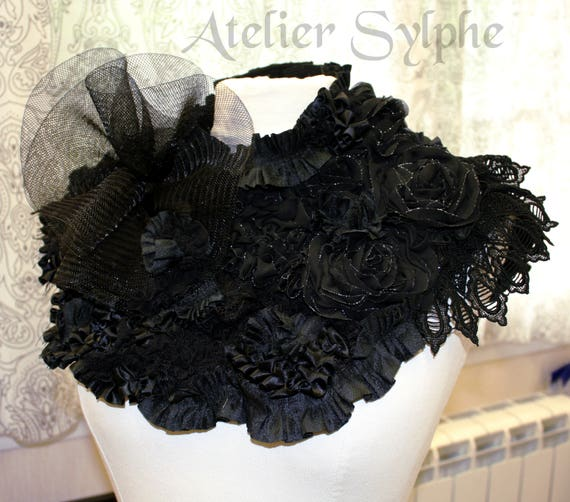 ed5fa373c5 Black lace neck ruffle collar choker necklace with various
