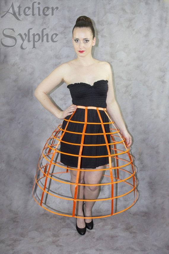 ea4429df157ad Jupe cerceaux crinoline cage orange fluo ruban de satin taille   Etsy
