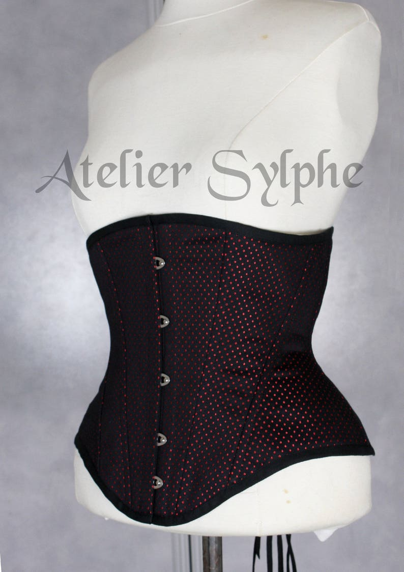 c6391d34d12 25 inches waist size underbust boned coutil corset red dots pattern fabric  READY TO WEAR