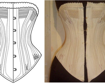 REF P PDF digital corset pattern from antique corded bust corset spoon busk style 24 inches waist size