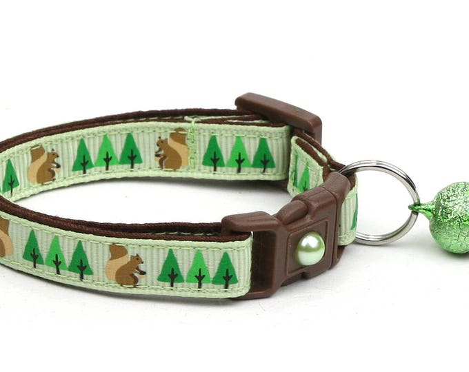 Woodland Cat Collar - Squirrels and Trees on Green - Small Cat / Kitten Size or Large Size