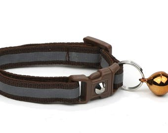 Reflective Cat Collar - Brown with Refective Strap -Small Cat / Kitten Size or Large Size Collar B71D278