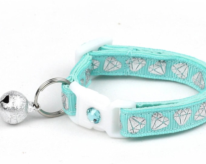 Diamond Cat Collar -Shining Diamonds on Aqua -Small Cat / Kitten Size or  Large Size Collar