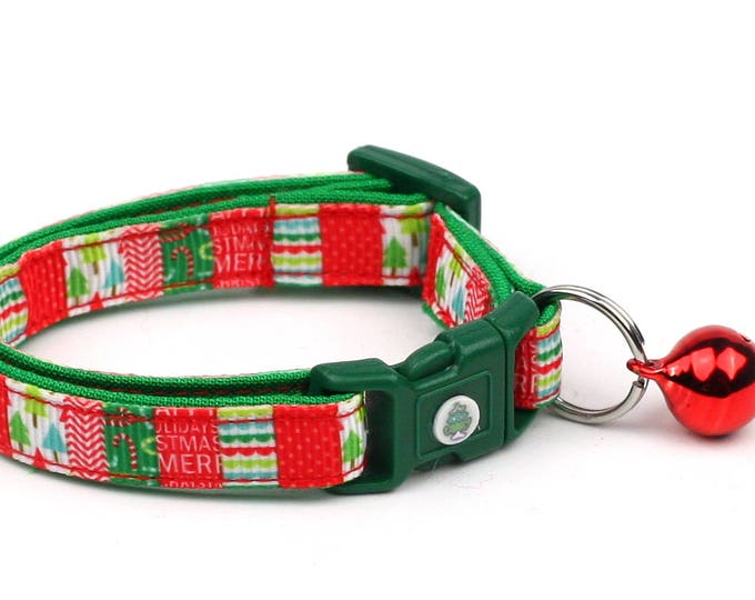 Christmas Cat Collar - Festive Patchwork - Kitten or Large Size