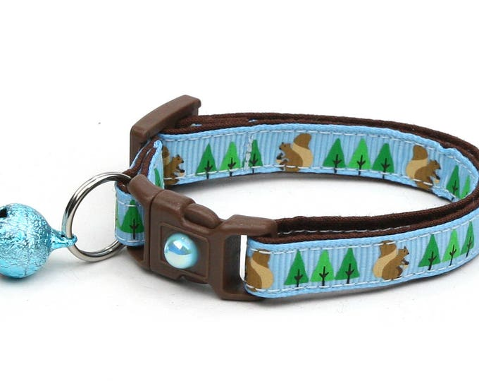Woodland Cat Collar - Squirrels and Trees on Blue - Small Cat / Kitten Size or Large Size