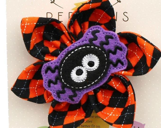 Halloween Dog Bow - Silly Spider on Halloween Argyle - Flower - Collar Blossom - Large Size