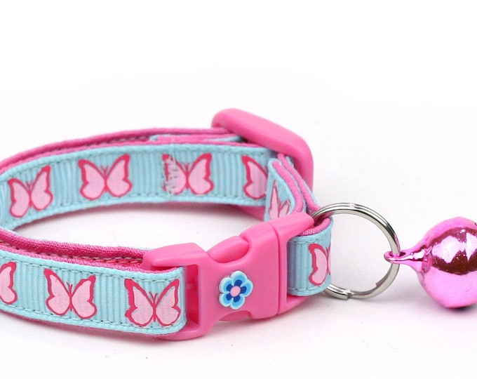 Butterfly Cat Collar - Bright Pink Butterflies on Blue - Small Cat / Kitten Size or Large Size