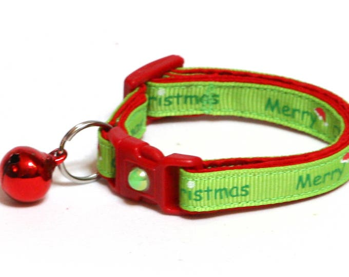 Christmas Cat Collar - Merry Christmas on Lime Green- Kitten or Large Size