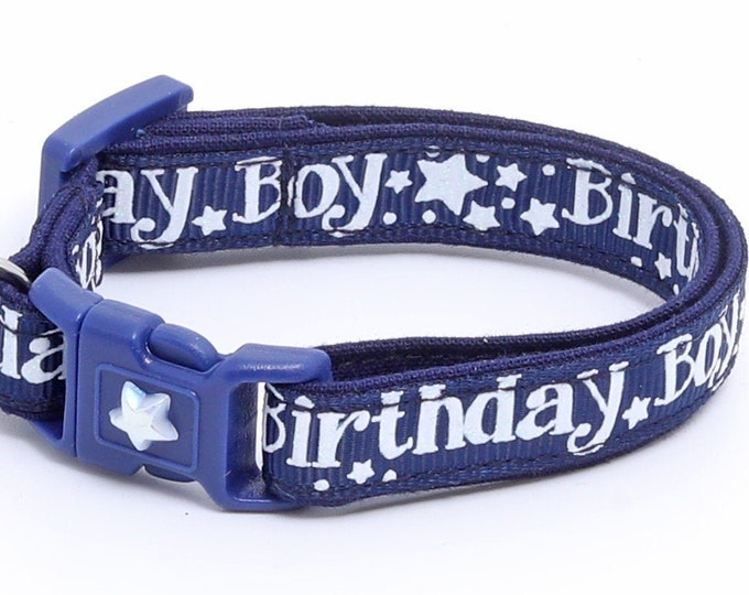 Birthday Cat Collar - Birthday Boy on Navy  - Safety Breakaway - Kitten or Large Size B83D18