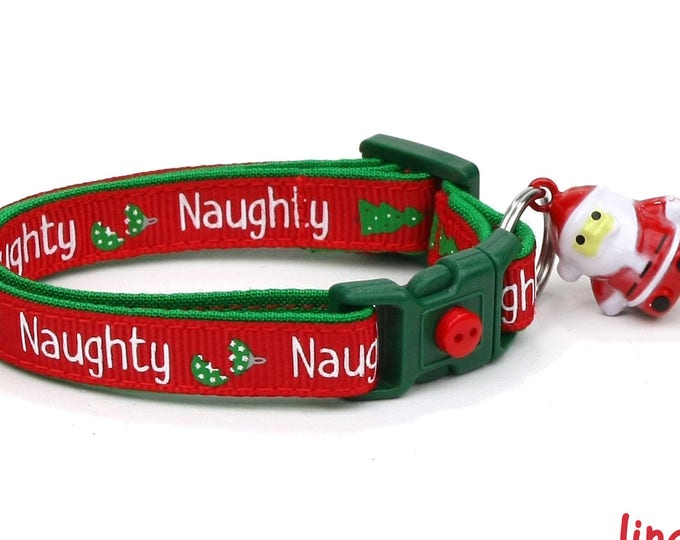 Christmas Cat Collar - Santa's Naughty List - Small Cat / Kitten Size or Large(standard) Size Collar