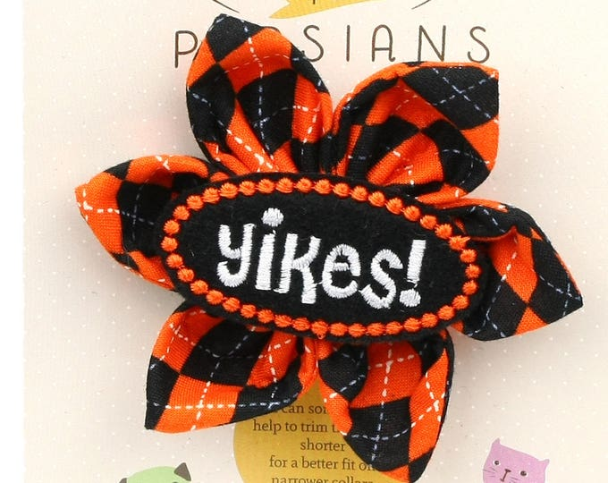 Halloween Dog Bow - Yikes! on Halloween Argyle - Flower - Collar Blossom - Medium Size