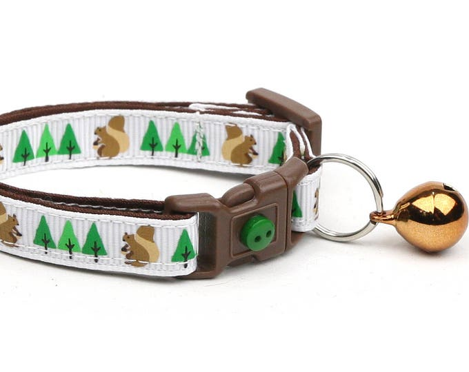 Woodland Cat Collar - Squirrels and Trees on White- Small Cat / Kitten Size or Large Size