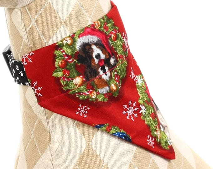 Pet Bandana - Christmas Dogs on Red - Pet Scarf - Collar Cover - Christmas