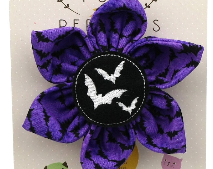 Halloween Dog Bow - Glow in the Dark Bats on Purple Bats - Flower - Collar Blossom - Large Size