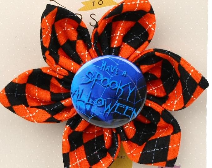 Halloween Dog Bow - Have a Spooky Halloween on Halloween Argyle - Flower - Collar Blossom - Large Size