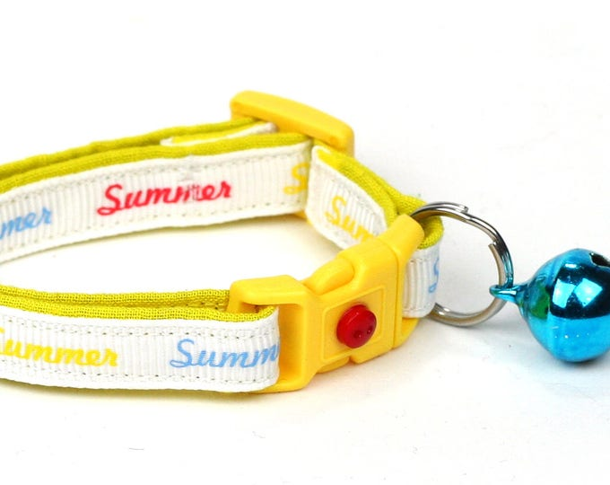 Summer Cat Collar - Sunny Summer Days- Small Cat / Kitten Size or Large Size